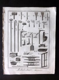 Diderot 1780's Antique Print. Architecture, Maconnerie 12 Masonry